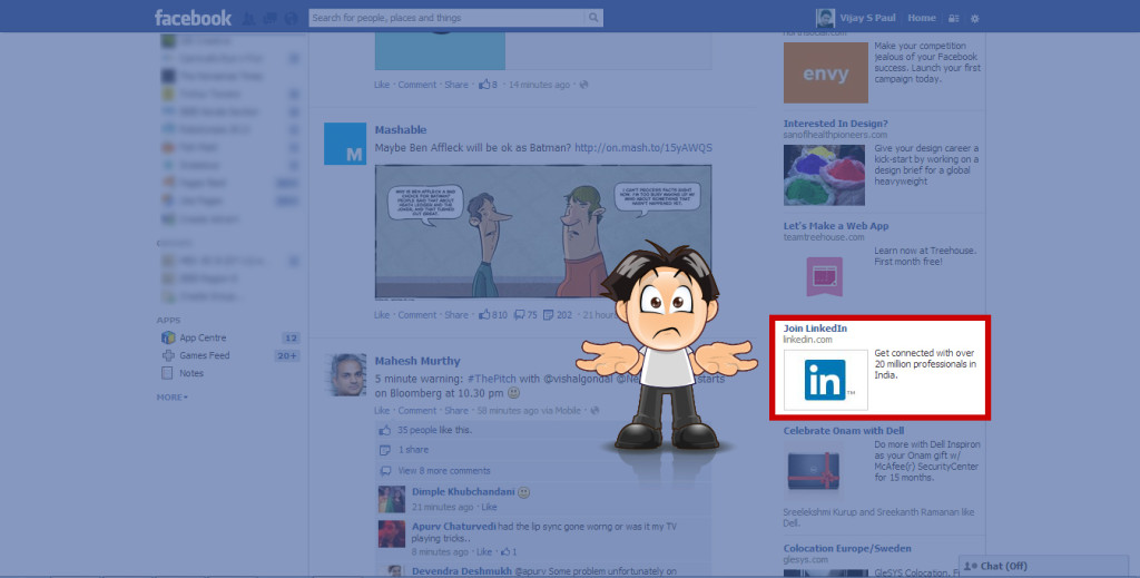 Linkedin ad in facebook