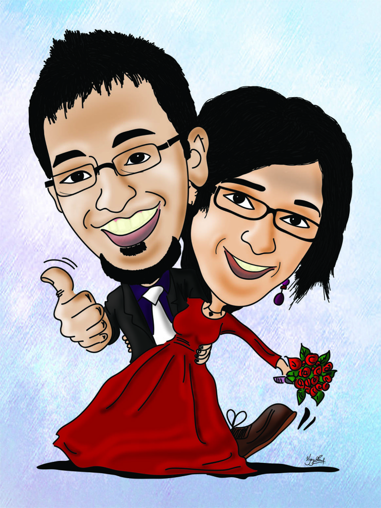 Rohit Aswini Wedding Couple Caricature
